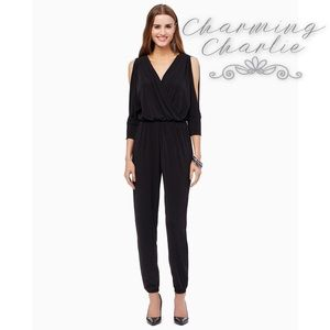 Charming Charlie black jumpsuit w/ cold shoulders